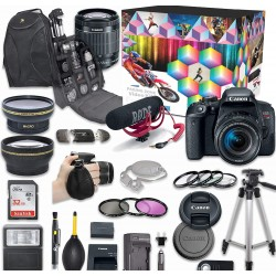 Canon EOS Rebel DSLR Camera Deluxe Video Creator Kit with Canon EF-S 18-55mm f/3.5-5.6 IS STM Lens + Wide Angle Lens