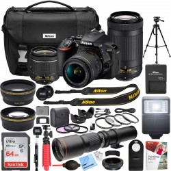 Nikon 24.2 MP DSLR Camera with AF-P DX 18-55mm f/3.5-5.6G VR and 70-300mm
