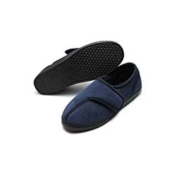 Mens Diabetic Slippers Arthritis Edema Adjustable Closure W/Memory Foam Indoor/Outdoor Shoes
