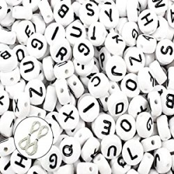 600pcs 4x7mm Acrylic White Round Letter Beads for Bracelets and Jewelry Making, with Thread (A)