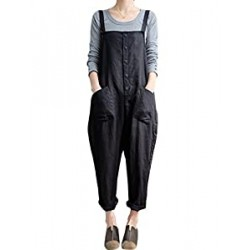 Women's Baggy Loose Cotton Linen Bib Overalls Jumpsuits