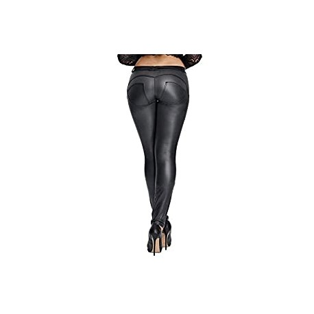 Leather PU Elastic Shaping Hip Push Up Pants Black Thick Sexy Leggings for Women